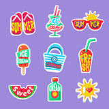Summer Beach Holidays Stickers With Text Collection