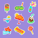 Summer Beach Holidays Stickers With Text Set