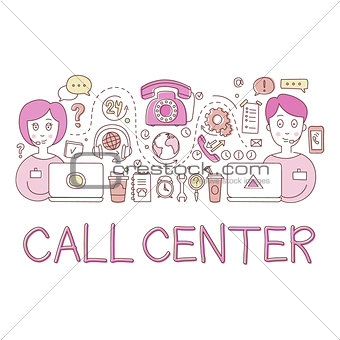 Call Center Work Elements Creative Sketch Infographic