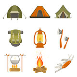 Camping Related Objects Set