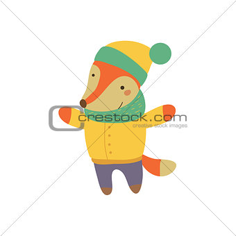 Fox Boy In Yellow Warm Coat Childish Illustration