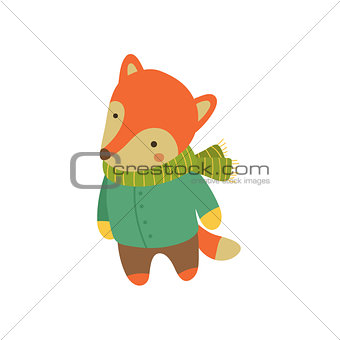 Fox In Green Warm Coat Childish Illustration