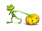 3d illustration of a frog pulling a pumpkin