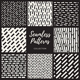 Set of Eight Vector Seamless Hand Drawn Lines Patterns Collection