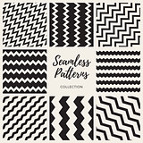 Set of Eight Vector Seamless ZigZag Lines Patterns Collection