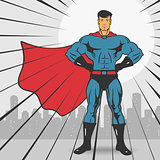 Super Action Hero Stand Vector Illustration