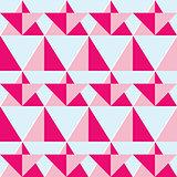 Geometric pink seamless pattern - flat design style