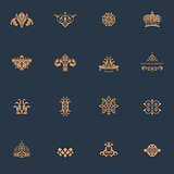 Luxury vintage logos set. Calligraphic emblems and elements