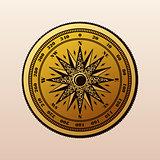 Vintage compass wind rose symbol