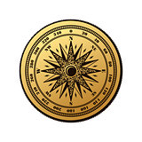 Vintage compass wind rose symbol