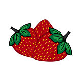 Hand painted strawberry berries close up.