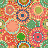 Seamless pattern spring baby with bright colorful painted circle