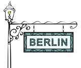 Berlin retro vintage pointer lamppost.