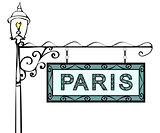 Paris retro vintage pointer lamppost.