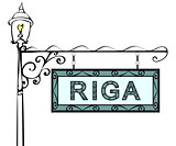 Riga retro vintage pointer lamppost.