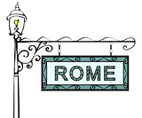 Rome retro vintage pointer lamppost.