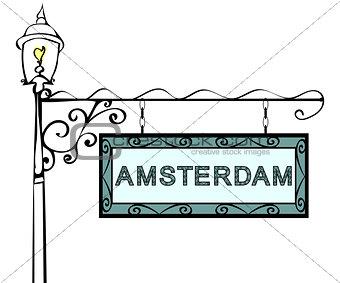 Amsterdam retro vintage pointer lamppost.