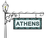 Athens retro vintage lamppost pointer.