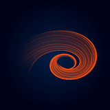 Orange bright flame helix ring abstract vector illustration. eps10
