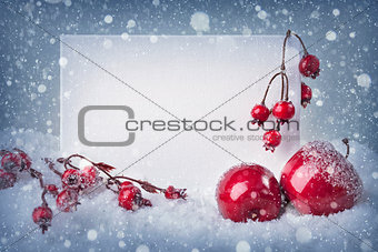 Blank sign with christmas decorations