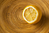 Mild Dried Lemon in a Wooden Bowl