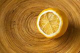 Mild Dried Lemon in a Wooden Bowl