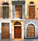 Collage with many different ancient doors