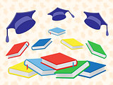 Books and mortar boards on the seamless background