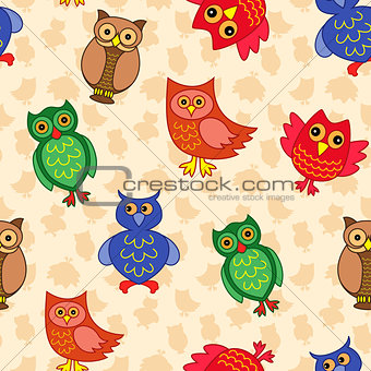 Amusing colourful owls seamless pattern