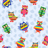 Funny colourful owl seamless pattern
