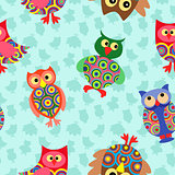 Likable colourful owl seamless pattern