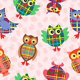 Funny checkered owl seamless pattern