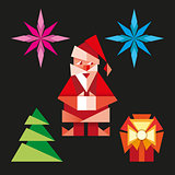 Origami christmas icons vector cartoon illustration