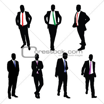 A collection of 7 Businessmen Vector Silhouettes