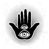 Hand and eyes