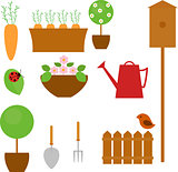 Gardening icon set with carrot, tree, flower and shovel