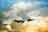 modern fighter sky with shallow depth of field