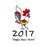 Funny Rooster, symbol of 2017 new year