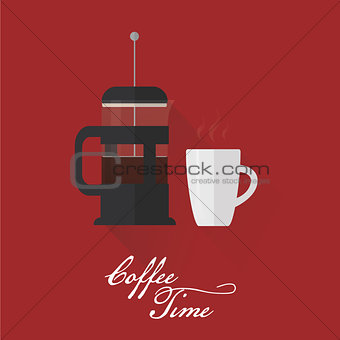 French press and coffee cup. Flat style
