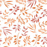 Seamless pattern with orange twigs silhouette.