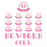 Monthly stickers with ribbon for photo. Girl labels for baby Happy Birthday design