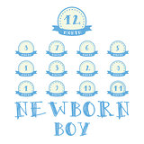 Monthly stickers with ribbon for photo. Boy labels for baby Happy Birthday design
