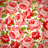 Vintage floral pattern with red roses.