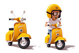 Vector realistic vintage yellow scooter and scooter driver icon