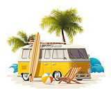 Vector realistic vintage surfer van on the beach icon