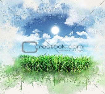 3D grunge green grass against blue sky