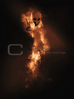 3D alien with smoke and flames