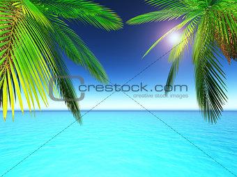 3D palm trees against ocean scene