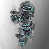 Painted design of a futuristic robot