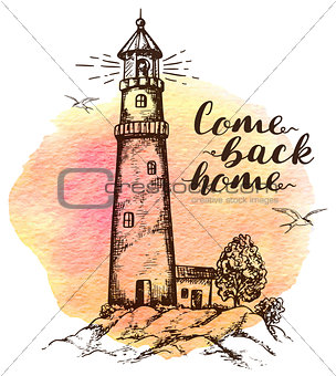 Background with lighthouse